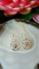 Pentacle with Pink CZ Stone Earrings Wiccan Pagan Sterling Silver 925