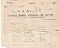 U.S. E. M. Miller & Co. Quincy Ill. 1906 Detailed Coach Works Invoice Ref 42871