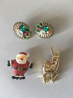 Tacky Christmas Jewelry Lot Brooch Clip On Earrings Ugly Party