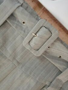 Miss Shop Pants Size 8 High Waisted Belted Grey Pinstriped Slightly Wide Leg