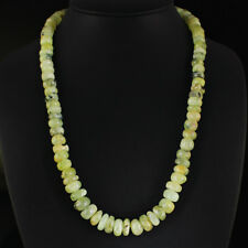 TOP CLASS 465.00 CTS NATURAL UNTREATED GREEN PHRENITE BEADS NECKLACE GEMSTONE
