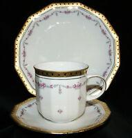 Tirschenreuth Porzellan Facette Goldrand Blumenranke 3 tlg Kaffeegedeck Gedeck