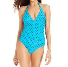 DKNY Swim One Piece Swimsuit Sz 4 Capri Blue Polka Dot Halter Maillot D61233