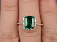 8x10mm Emerald & Diamond 14k Yellow Gold Over 925 Silver Engagement Halo Ring
