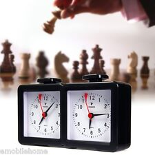 Quarz Analog Chess Clock I-go Count Up Down Timer for Game Competition Black