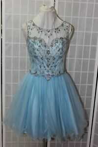 NEW light blue size 12 short poofy rhinestone beaded short homecoming dress