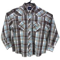 Vintage Wrangler Pearl Snap Button Up Long Sleeve Shirt Mens XXL Blue Grey Plaid