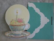 Carol's Rose Garden - Happy Birthday -  Tea cup with cupcake & candle on cover