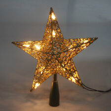 Star Wire Wrapped Christmas Tree Topper Light, Gold, 9-Inch