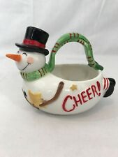 Fitz And Floyd 2007 Snowman Holiday Christmas Ceramic Basket Candy Dish Cheer