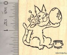 Easter Cat Paw Painting Eggs Rubber Stamp G16907 WM