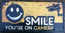 Sonrisa Cámara CCTV Letrero De Metal Poster Vintage Retro Bar Cafetería Pub Decoración de garaje