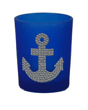 "2.75""H Blue Glass Anchor Votive Candle Holder with Tea Light Sparkling Nautical"