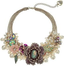 $195 NWT BETSEY JOHNSON BLOOMING BETSEY FLOWER & PEARL STATEMENT NECKLACE PINK