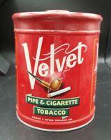 Velvet Vintage Red Pipe & Cigarette Tobacco Tin