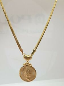 """Genuine 18k/750 Solid Gold Necklace with Center Cameo QE  Coin Pendant 16"""""""