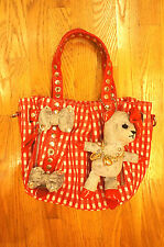 Authentic Samantha Thavasa Red Patent Leather  Shoulder bag Aimi bear Gingham