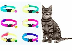 Cat's / Kitten's Adjustable, Strong, Luminous, Rainbow Coloured Collar With Bell