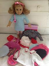 American Girl Doll Just Like You Honey Pajamas Table Runner Bonnet Headband LOT
