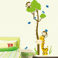 Monkey Giraffe Tree Height Chart Measurment Kids Room Wall Decals Vinyl Stickers