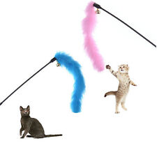 Pets Cats Kitten Teaser Turkey Feather Fur Toy Chaser Wand Interactive Game Gift