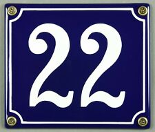 """Blaue Emaille Hausnummer """"22"""" 14x12 cm Hausnummernschild sofort lieferbar Schild"""