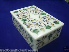 "6""x4""x2"" White Marble Jewelry Box Trinket Handmade Pietra Dura Eid Mubarak Gifts"