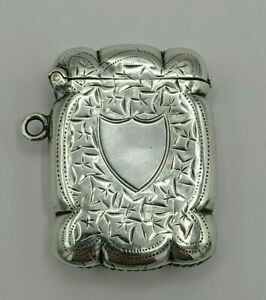 Antique Silver Pretty Edwardian Silver Vesta Case Joseph Gloster 1909 in VGC
