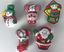 Vintage Christmas Holiday Candy Treat Holders Plastic Santa Snowman Mouse