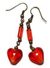 Long Red Heart Earrings Antique Bronze Style Pierced Hooks Dangle Boho Hippy