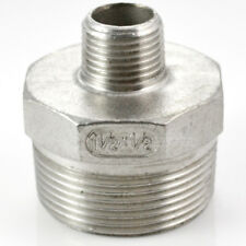 "Hex Nipple 1-1/2"" x 1/2"" Male Stainless Steel 304 Thread Reducer Pipe Fitting"