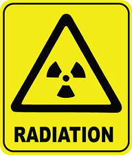 RADIATION WARNING SIGN - VINYL STICKER - 16 cm x 13 cm