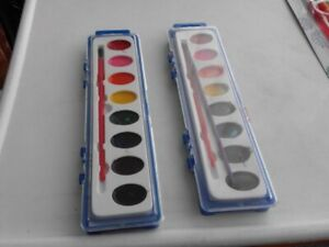 TWO 8 COLOR WATERCOLOR REFILL TRAYS WITH BRUSHES [Oriental Trading]  - Used
