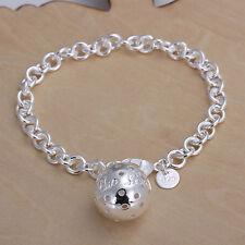"""Sterling Silver Jewelry Big Ball Pendant Men Women Chain Bracelet 8"""" HY043"""