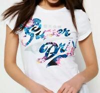 Superdry Womens Stacker Jungle White T-Shirt Size UK 10 / Small BNWT