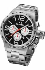 Mens TW Steel 45mm Canteen Stainless Steel Black Dial Chronograph Watch CB3
