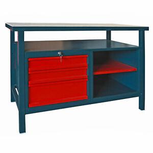 Profi - Werkbank Werktisch Arbeitstisch Werkstatt Tisch 3 Schubladen anthrazit
