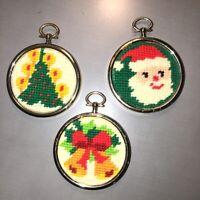 "Set of 3 Vintage Framed Needlepoint Christmas Ornaments Tree Bells Santa 2.5"" Rd"