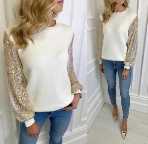 Women's Ladies Multi Sequin Sleeve Fine Knit Fashion Jumper Sweatshirt Top New