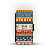 Card Slots Wallet Style Phone Case Cover Christmas SnowFlake Reindeer Winter