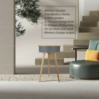 Smart Coffee Bedside Table Desk w/ Speaker/Wireless Charger Home Bedroom Living