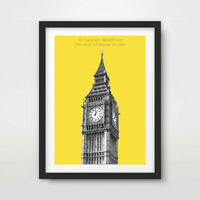 YELLOW POP MODERN BIG BEN LONDON ART PRINT Poster City Home Decor Bright Colour