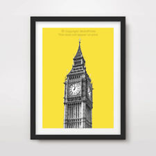 YELLOW POP MODERN BIG BEN LONDON ART PRINT Poster City Home Decor Bright Colour