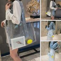 Women Transparent PVC Clear Pearl Jelly Bag Tote Casual Handbag Messenger Bag