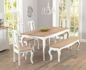 60% off Shabby Chic Style 175cm table + chairs/bench