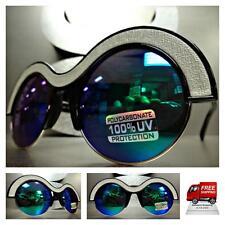 Men or Women VINTAGE Style SUN GLASSES Unique Black Silver Frame Blue Green Lens