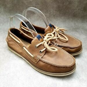 Sonoma Mens Lotus  Size 8.5 Brown  Leather Slip On Loafer Boat Shoe