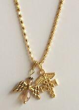"Gold RN Caduceus Nursing Necklace Angel 20"" Crystal Graduation Gift Plated USA"
