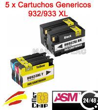 5 TINTAS REMANUFACTURADAS COMPATIBLES HP932 XL HP933 XL 40 ML 16 ML CON CHIP