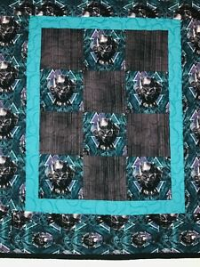"""100% Cotton MARVEL BLACK PANTHER Patchwork Mini Quilt 30"""" x 34"""" Made in USA"""